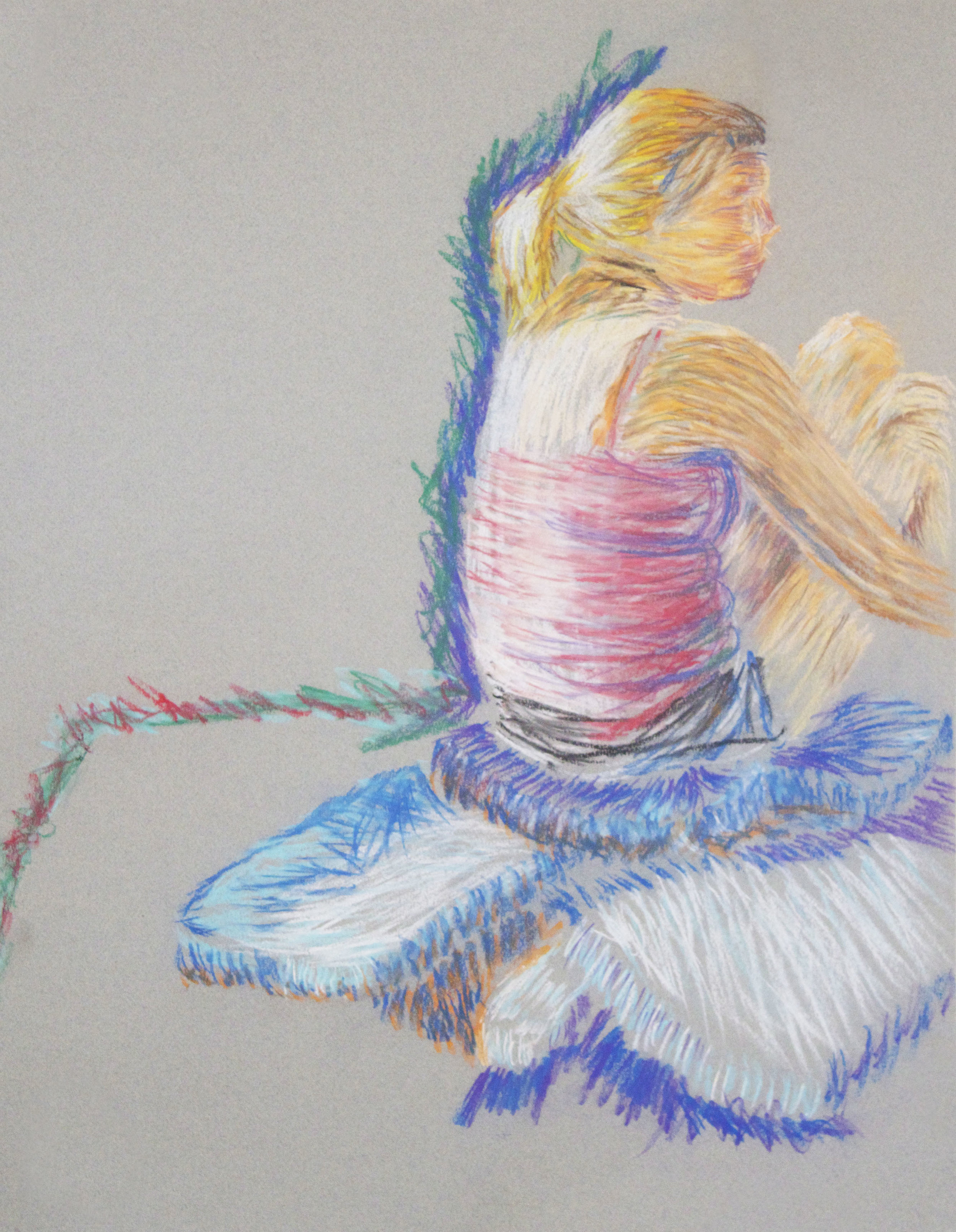 "18""x24"" Chalk Pastels on Grey Paper"
