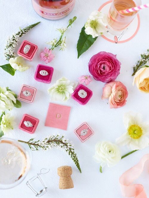 Pretty pink velvet makes for a romantic ring box with a beautiful pressed monogram