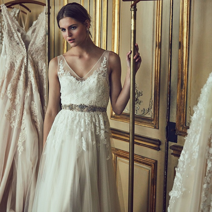 Flattering necklines, sheer overlays and beautiful lines are very BHLDN