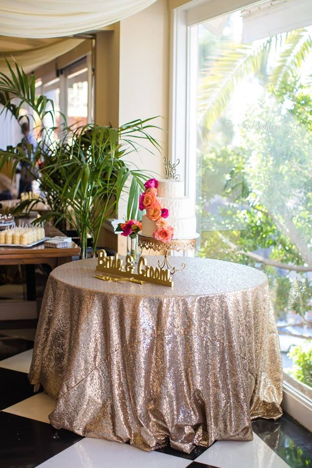 RSVP Events creates gorgeous table tops and cake tables [like this beauty at a La Valencia Hotel wedding!] and works directly with your florist and cake artists to bring it all together