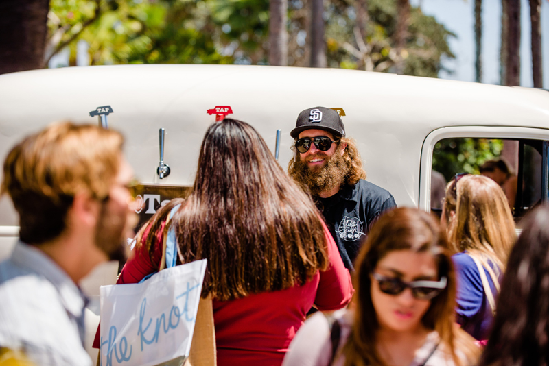 Co Founder Corbin doing what he does best - making people happy with great beer and a great attitude! All photos above by Paul Douda for The Wedding Party EXPO.