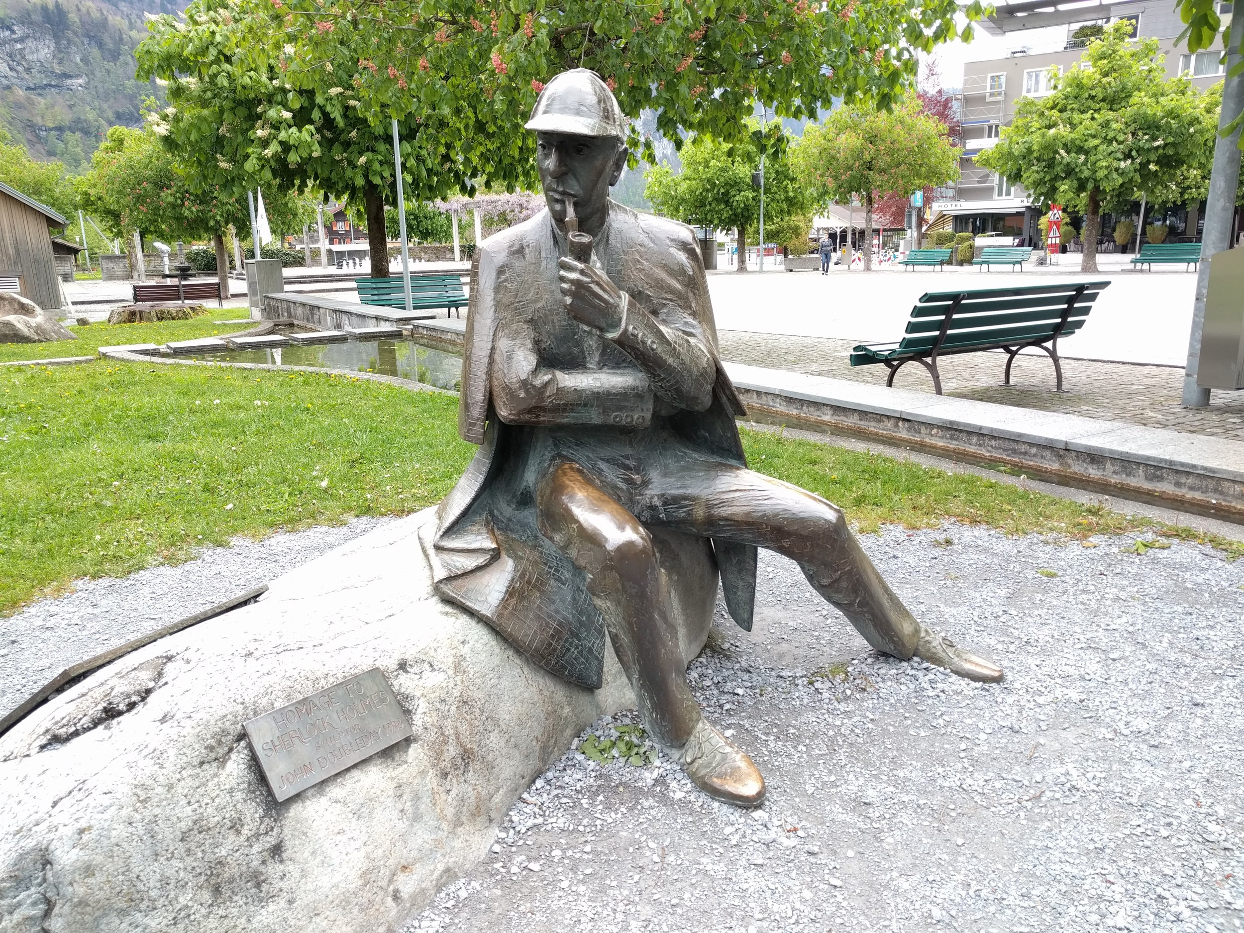 This is Sherlock Holmes. He was sculpted by John Doubleday, who also made one for London. But this one came first, in 1991. So take that, London, you were second. Also, this is the only statue of a seated Holmes, if that matters to you. It does not matter to me, other than that it's easier to take selfies with this one. Which I did not do. Yet.