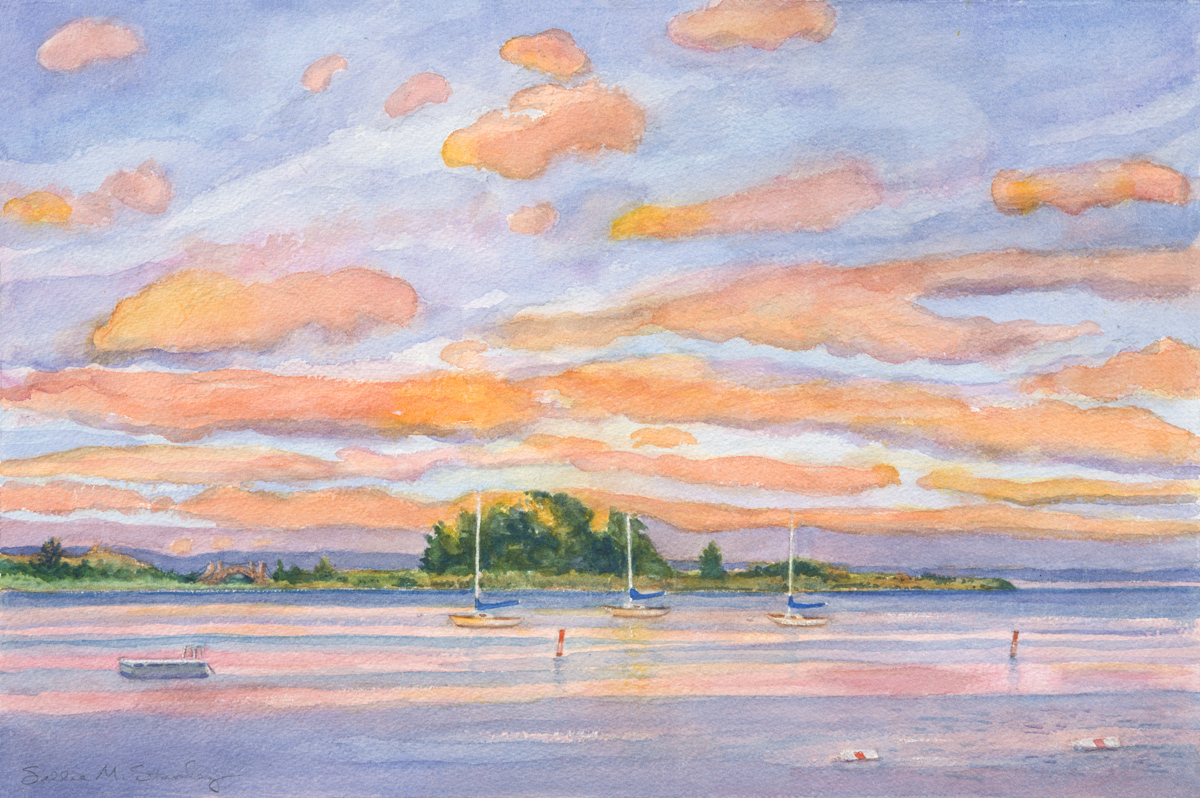 "Stony Point Afterglow 16 x 20"" Watercolor"