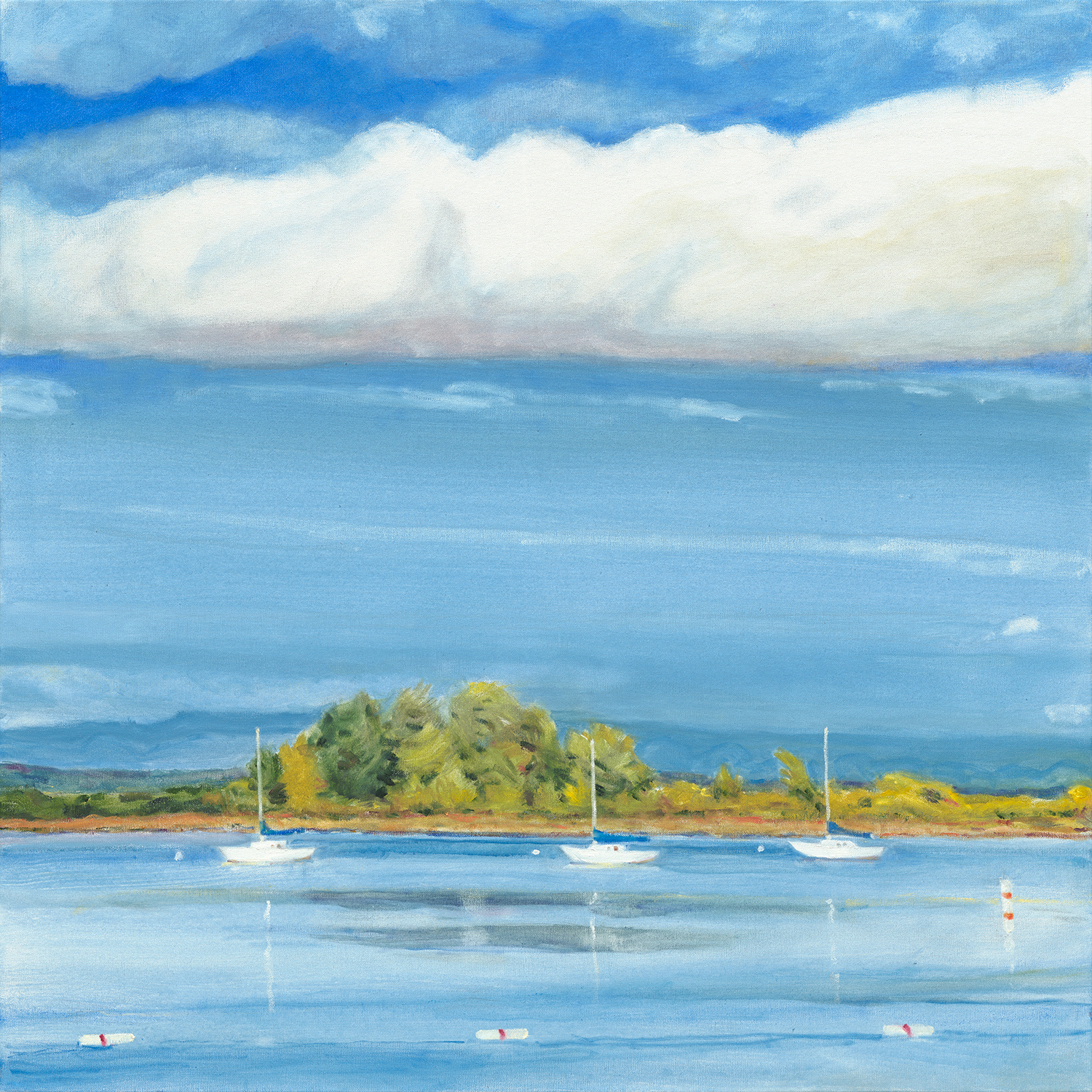 "Three White Sailboats 36 x 36"" Aqua Oil"