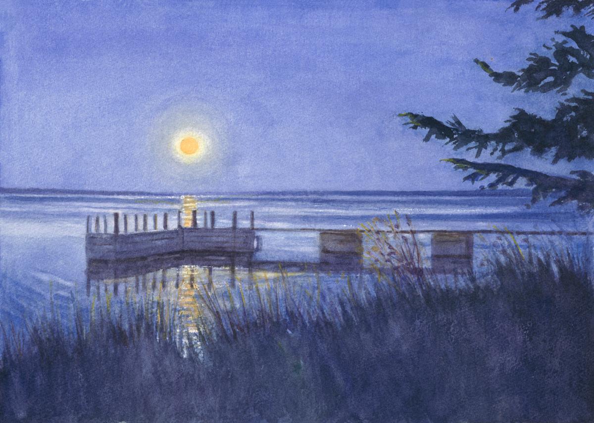 """Moonrise Over Harper's Dock 12 x 16 3/4"""" Watercolor"""