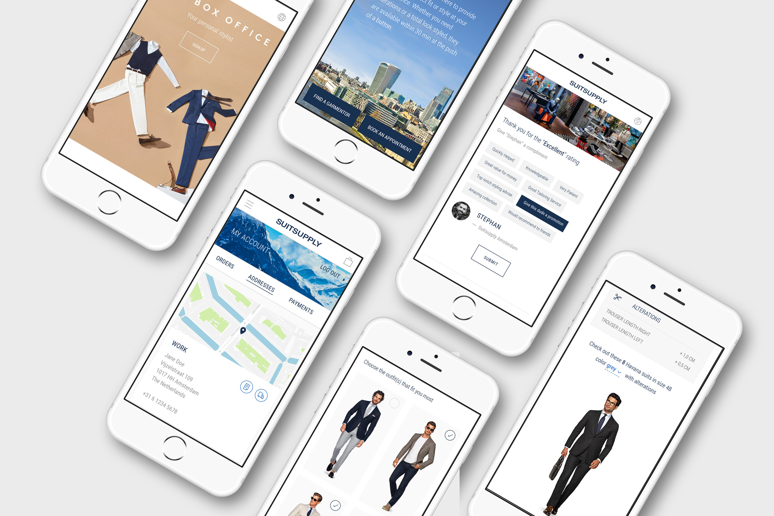 Several features for Suitsupply; Online alterations, personal shopping.