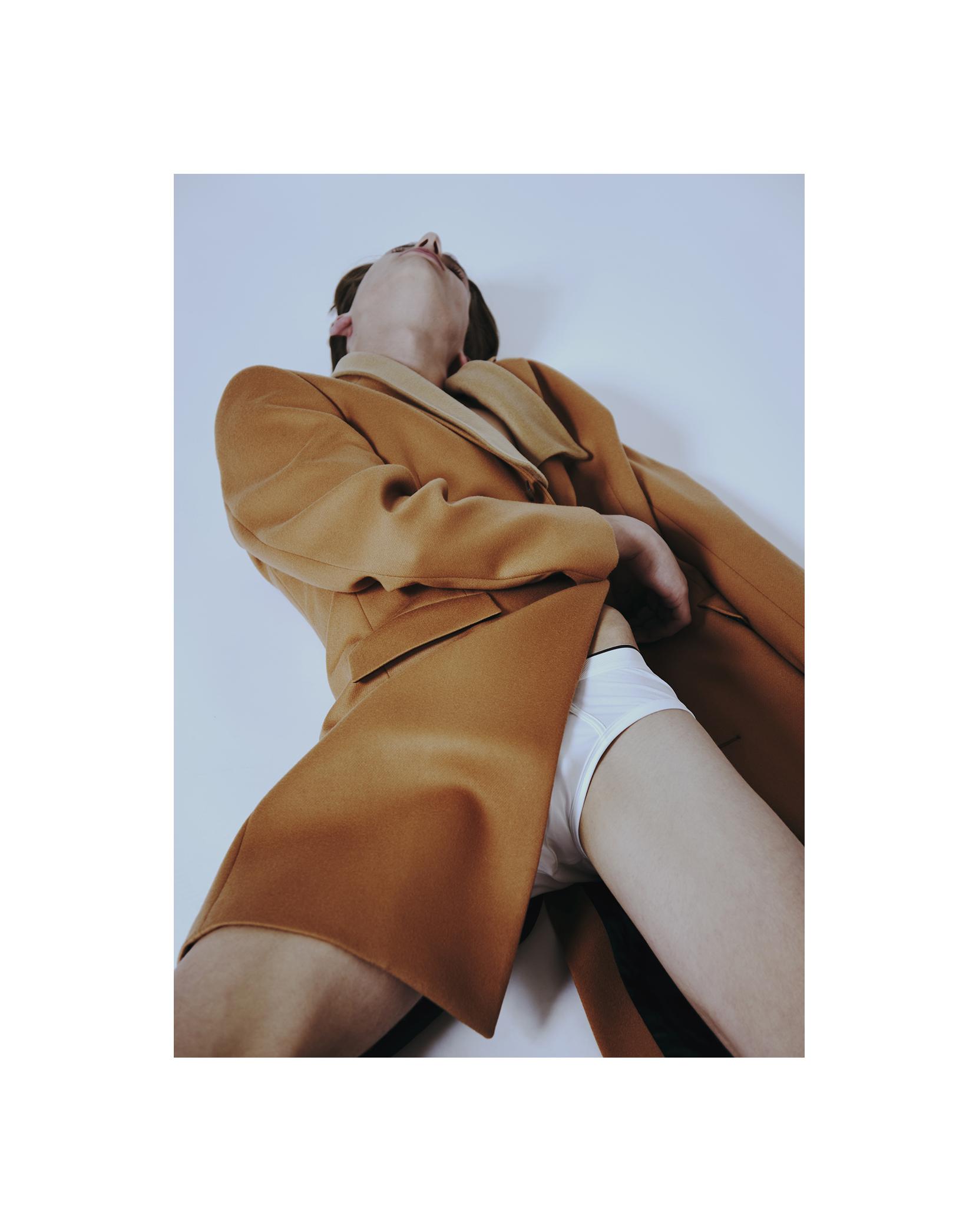 coat by PAUL SMITH / underwear by ZIMMERLI