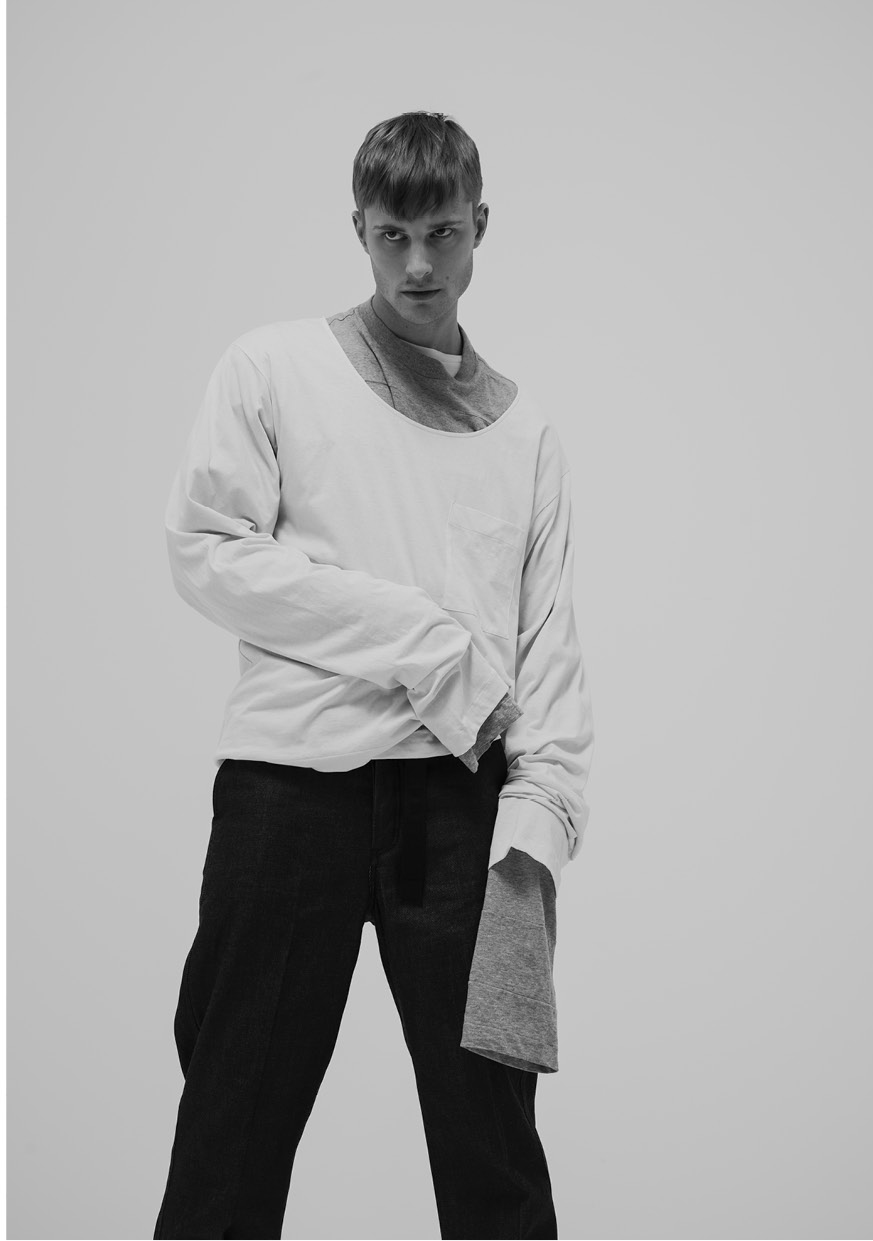 Superposition of 2 oversized cotton shirts by  Prada  & fisherman denim pants by   Loewe