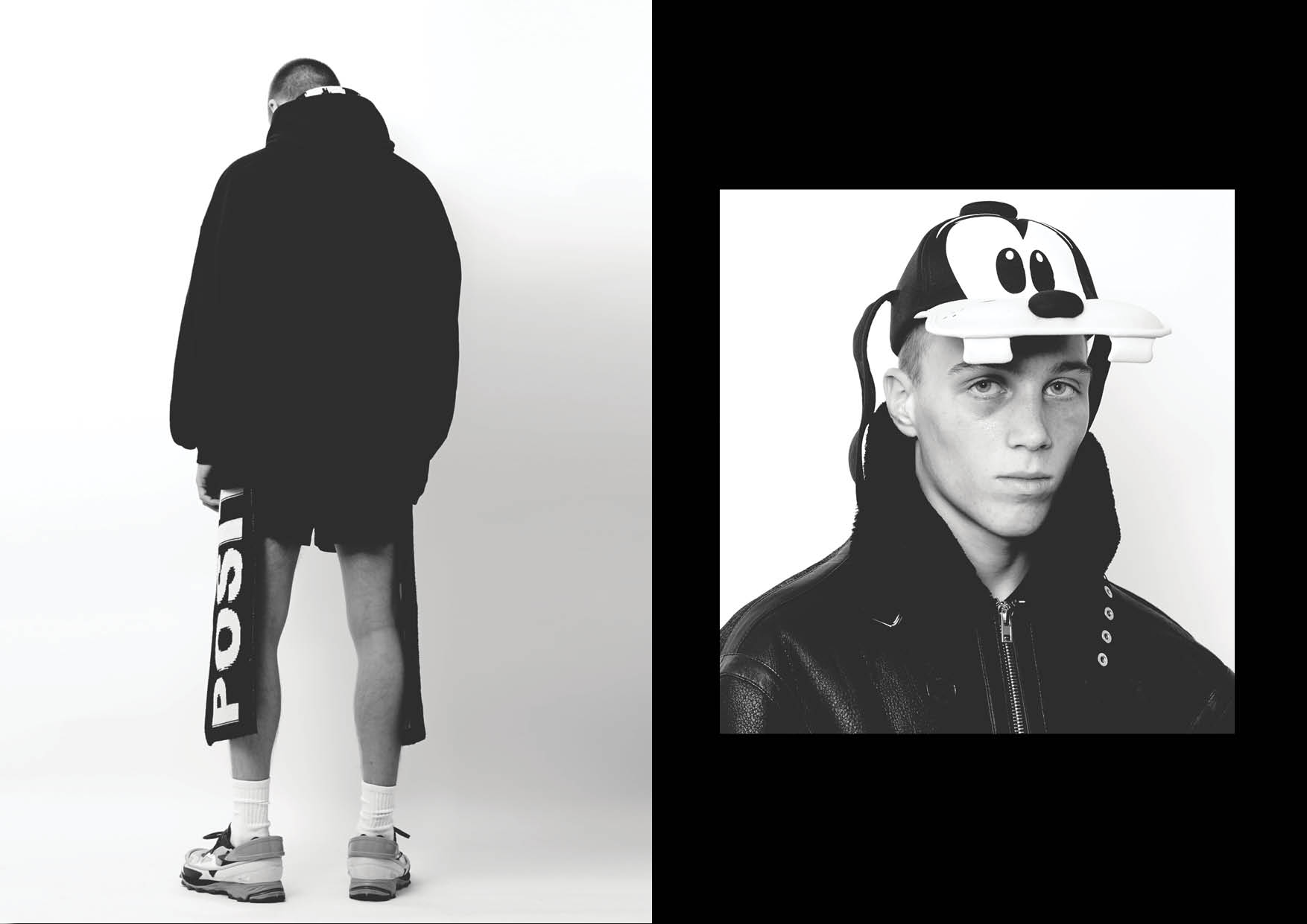 Left / Sweatshirt   Trasher  , shorts   Adidas  / scarf   Etudes   and sneakers   Raf simons x adidas   Right / Jacket  Vetements  and cap  Disney