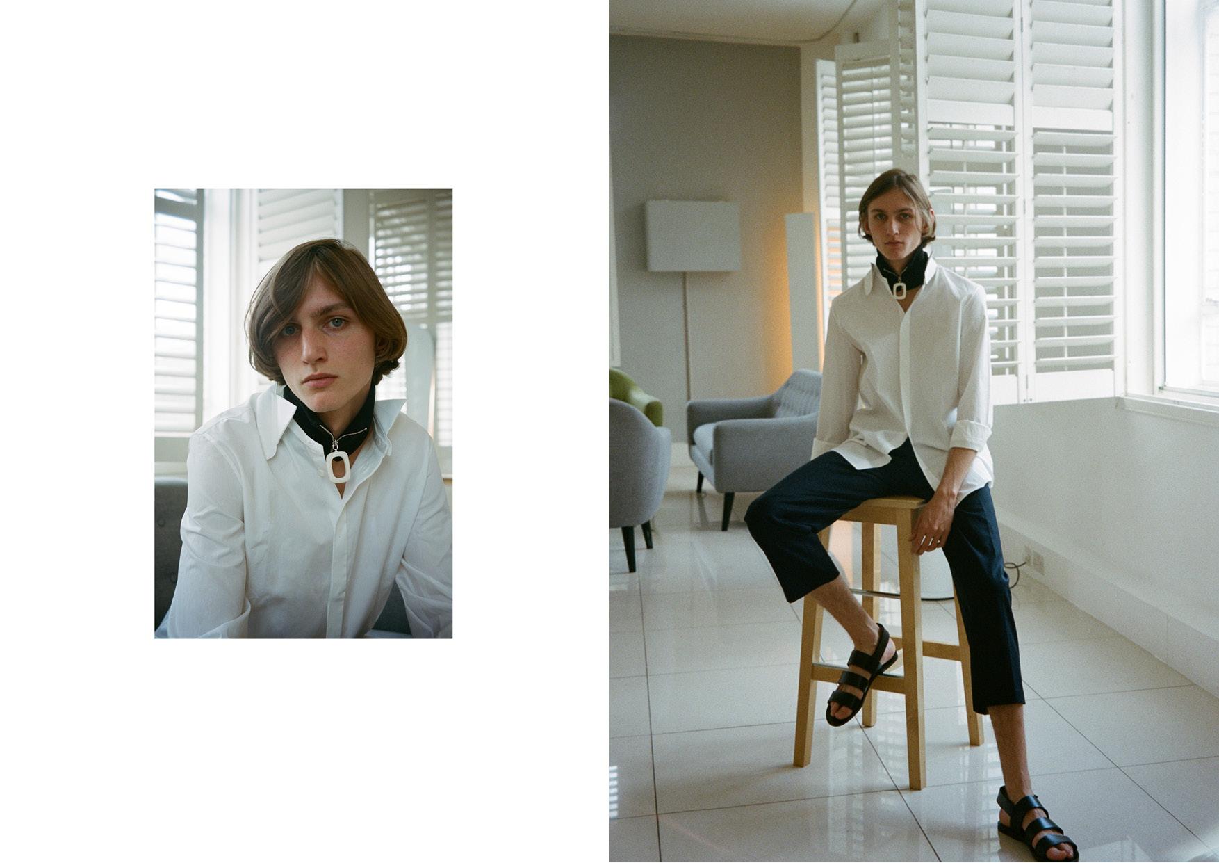 Shirt  Maison Margiela , pants  Lanvin , shoes  Damir Doma  and accessories  J.W. Anderson