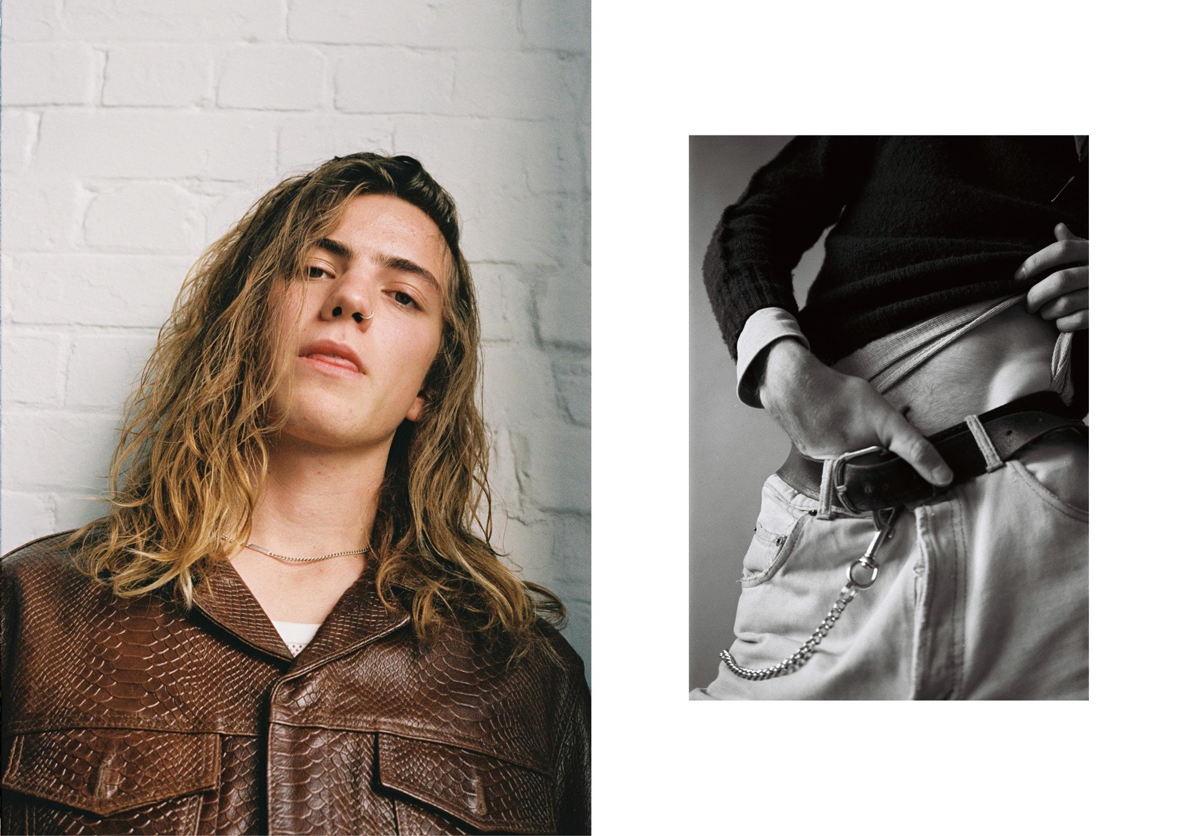 Left Jacket  Cmmn Swdn , vest  Dries Van Noten  and necklace  Maison Margiela