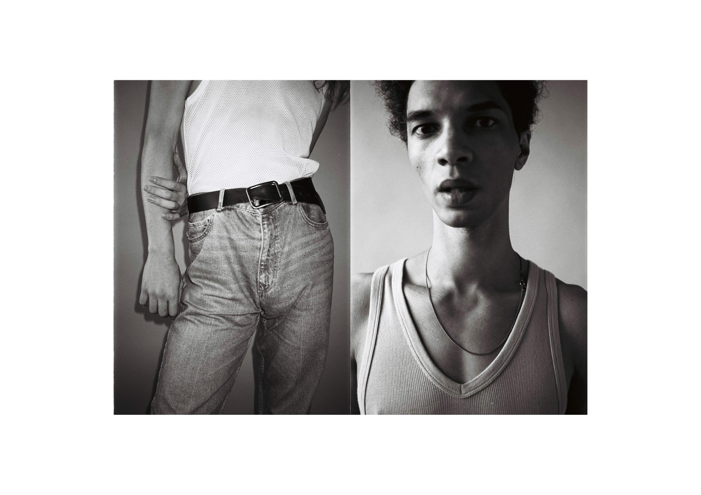 Left Vest  Dries Van Noten , jeans and belt stylists own  Right Vest  Maison Margiela