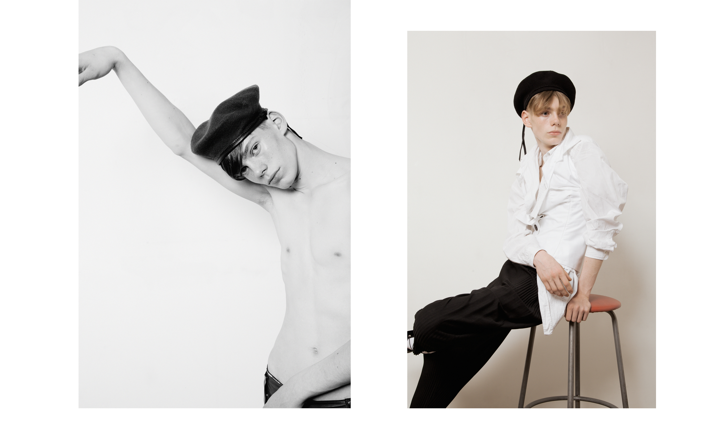 Left Pants Ludovic de Saint Sernin and Beret Stylist's Archive   Right Shirt Canali, Bodice/Wrap Aaizel and pants Homme Plissé Issey Miyake from Browns Fashion