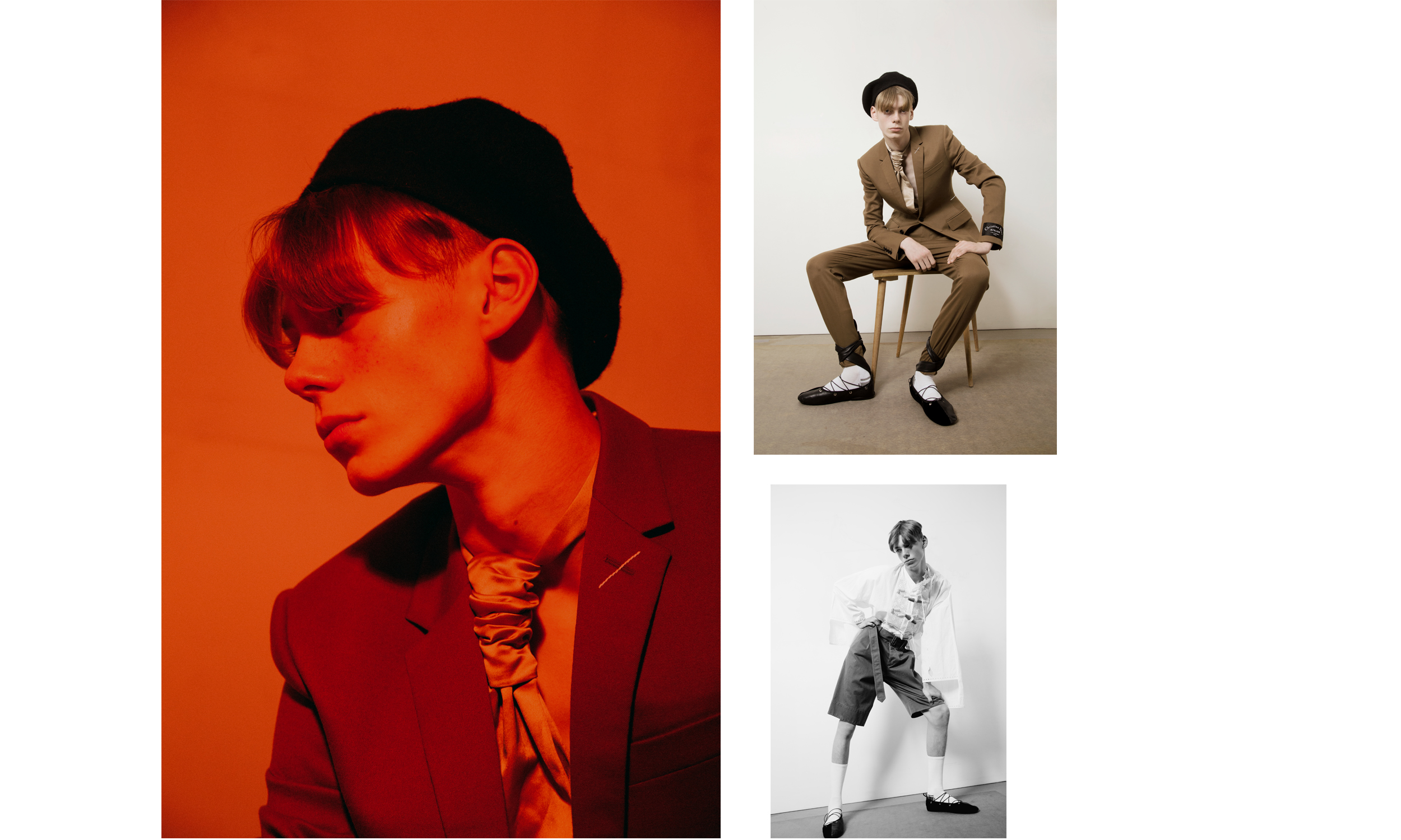 Left and right (up) Blazer Dior Homme, Tie and Beret Stylist's Archive  Right (down) Top & shorts JW ANDERSON, Shoes Ludovic de Saint Sernin, socks Falke