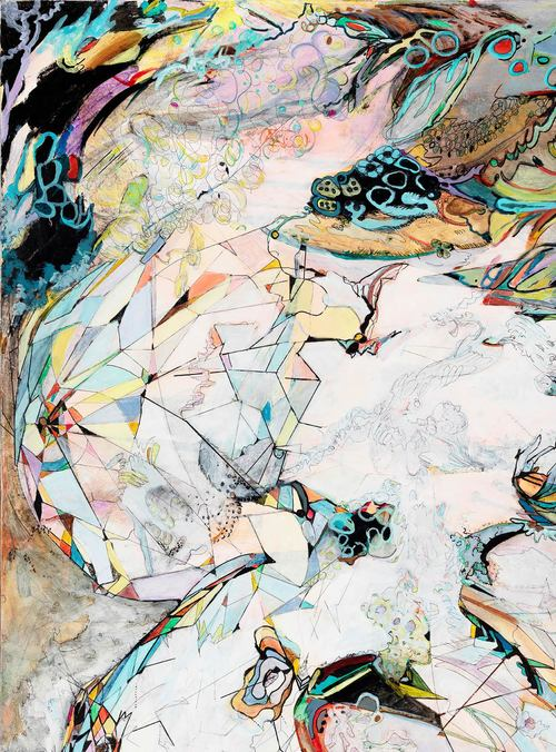 """clues I    Detail / Acrylic, ink and colored pencil on canvas / 48"""" x 36"""" / 2015"""