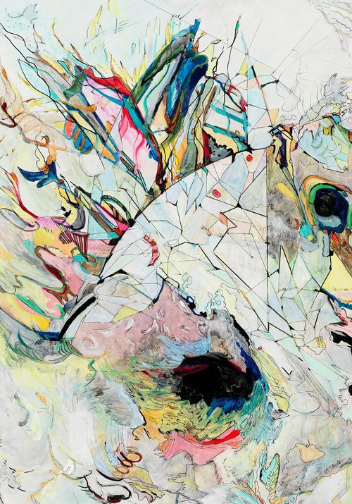 """clues II   Detail / Acrylic, ink and colored pencil on canvas / 36"""" x 48"""" / 2015"""