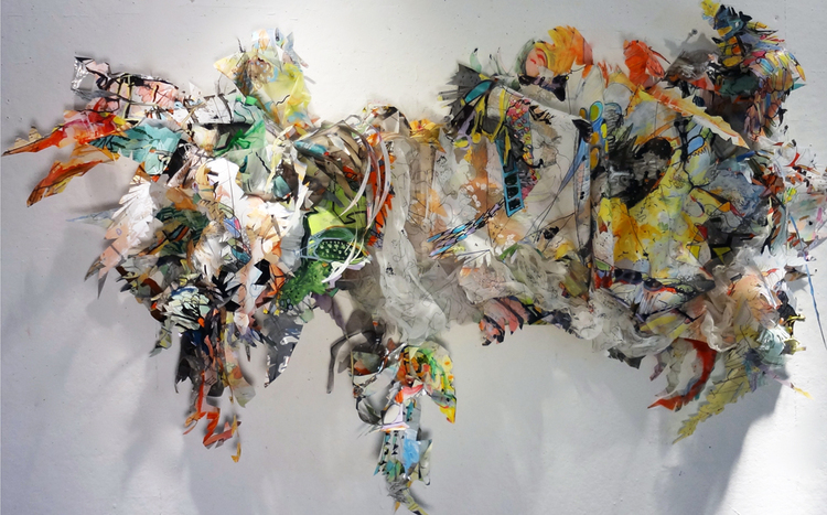 """residue painting #1   Acylic, ink, thread, fabric and glitter on drafting film on wood structure / 24"""" x 10"""" x 48"""" / 2012"""