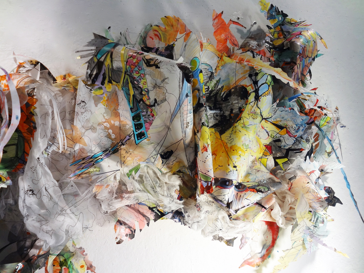 """residue painting #1   Detail / Acylic, ink, thread, fabric and glitter on drafting film on wood structure / 24"""" x 10"""" x 48"""" / 2012"""