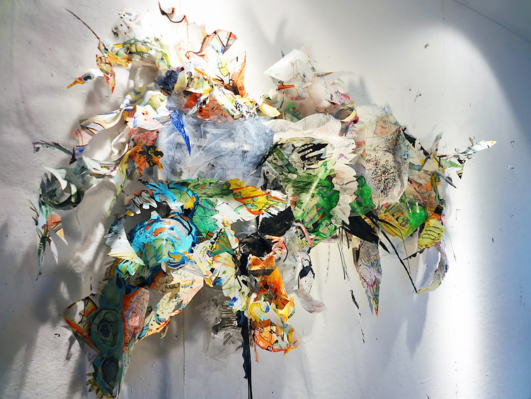 """residue painting #2   Acrylic, ink, thread, fabric and glitter on drafting film on wood structure / 24"""" x10"""" x 48"""" / 2012"""