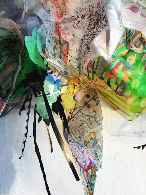 """residue painting #2   Detail / Acrylic, ink, thread, fabric and glitter on drafting film on wood structure / 24"""" x10"""" x 48"""" / 2012"""