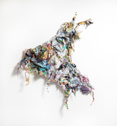 """hop skip jump   Acrylic, ink, fabric, thread, metal and glitter on drafting film, on wood structure / 74"""" x 58"""" x 8"""" / 2012"""
