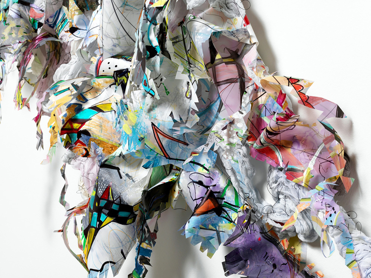 """hop skip jump   Detail / Acrylic, ink, fabric, thread, metal and glitter on drafting film, on wood structure / 74"""" x 58"""" x 8"""" / 2012"""