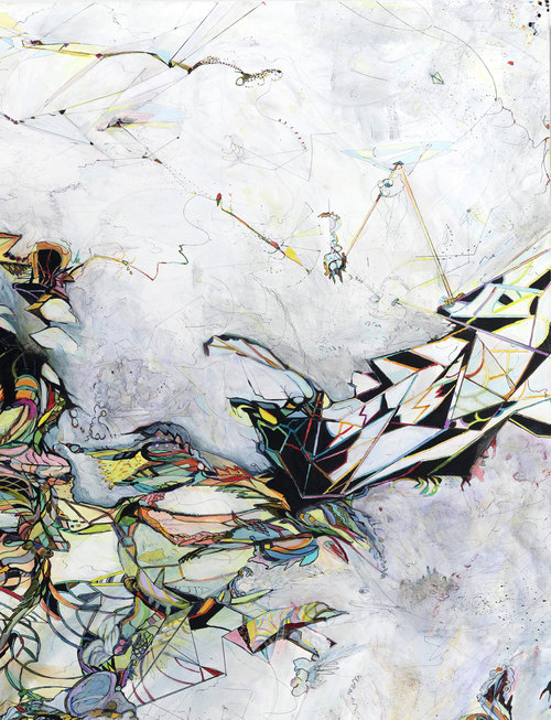 """logic #3 / control   Detail / Acrylic, ink and colored pencil on canvas / 42""""x 58"""" / 2011"""