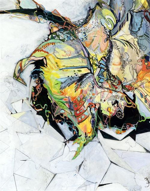 """logic #1 / flight   Detail / Acrylic, ink and colored pencil on canvas / 48""""x 72"""" / 2010"""