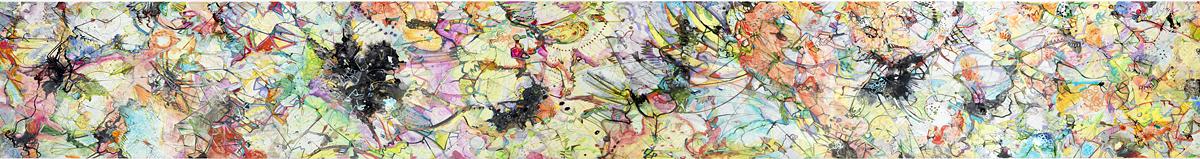 "scroll   Acrylic, ink on mylar / 36"" x ca. 26 ft. / 2009"