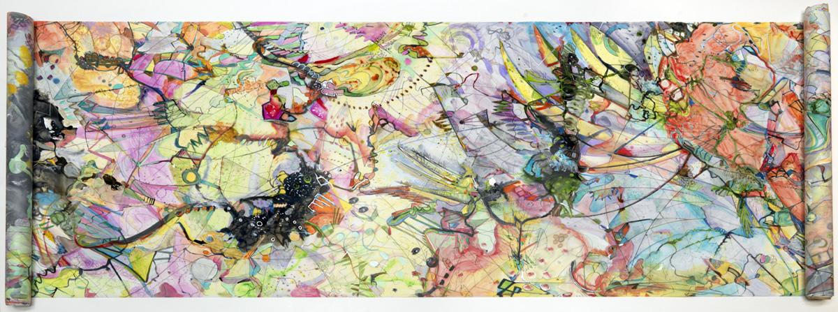 "scroll   Detail / Acrylic, ink on mylar / 36"" x ca. 26 ft. / 2009"