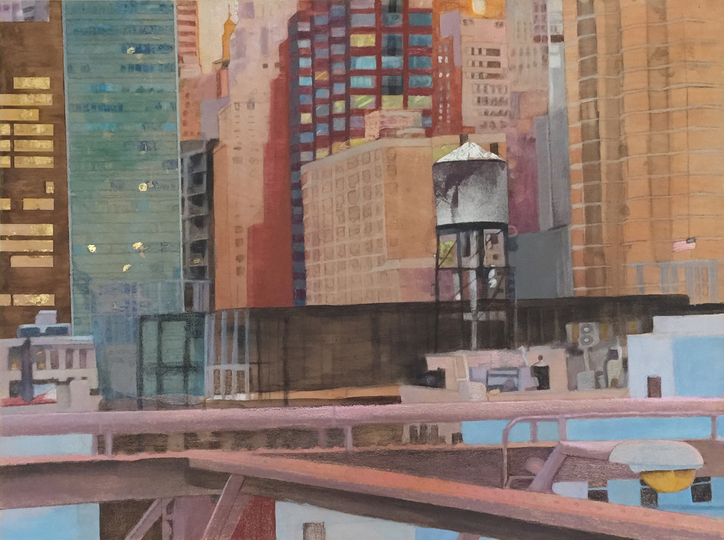 """View from the Bridge       24""""x 18"""" Mixed Media on Wood Panel"""