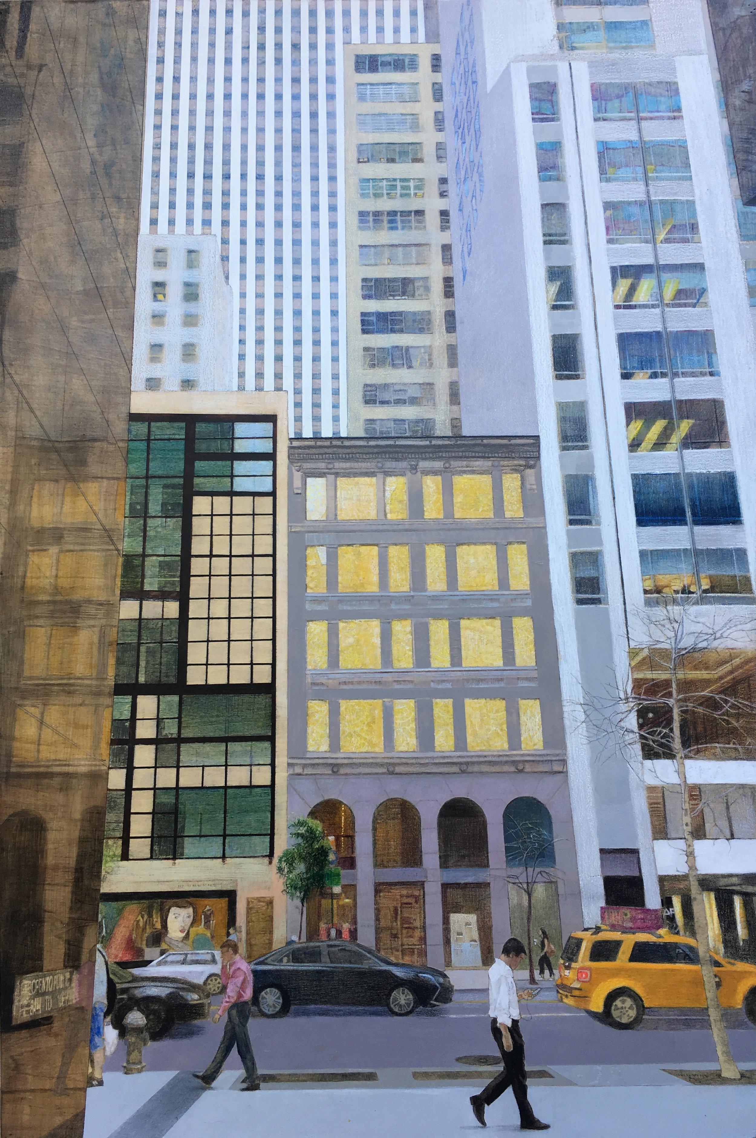"East 57th Street     24""x 36"" Mixed Media on Wood Panel"