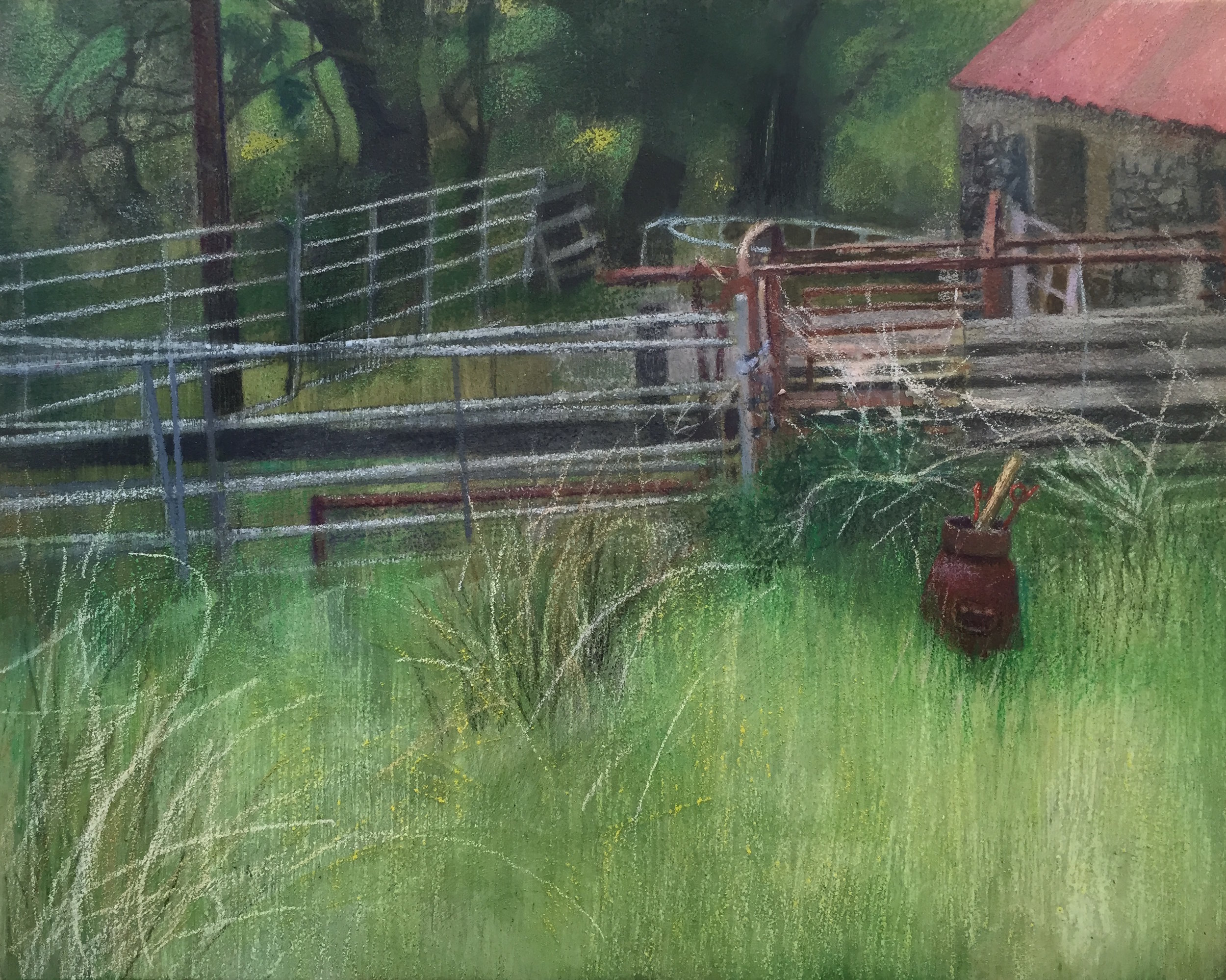 """Railing and Weeds  10""""x8"""" Mixed Media on Wood Panel"""