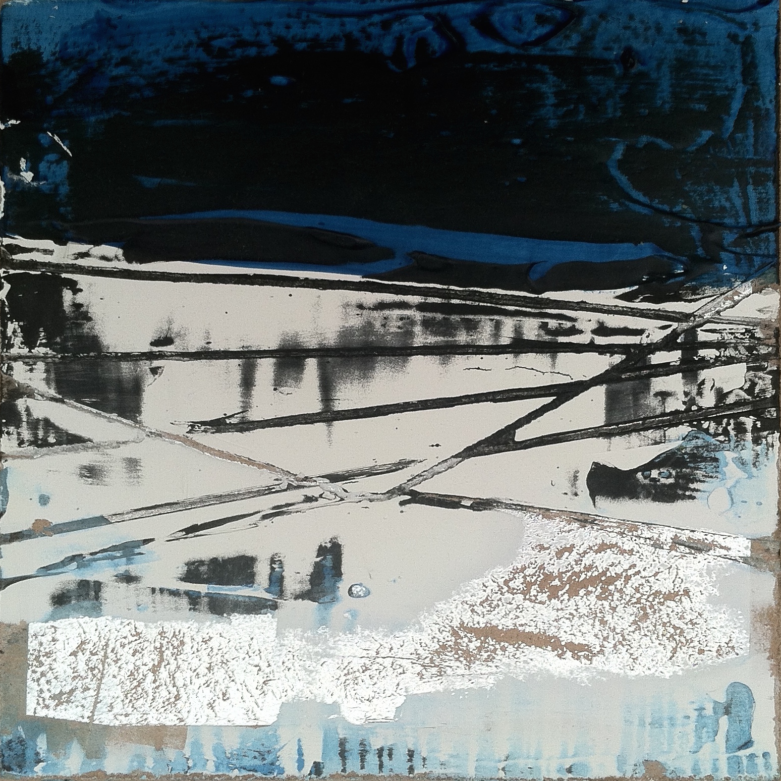 """Ice Sheets   6""""sq. Mixed Media on Wood Panel"""