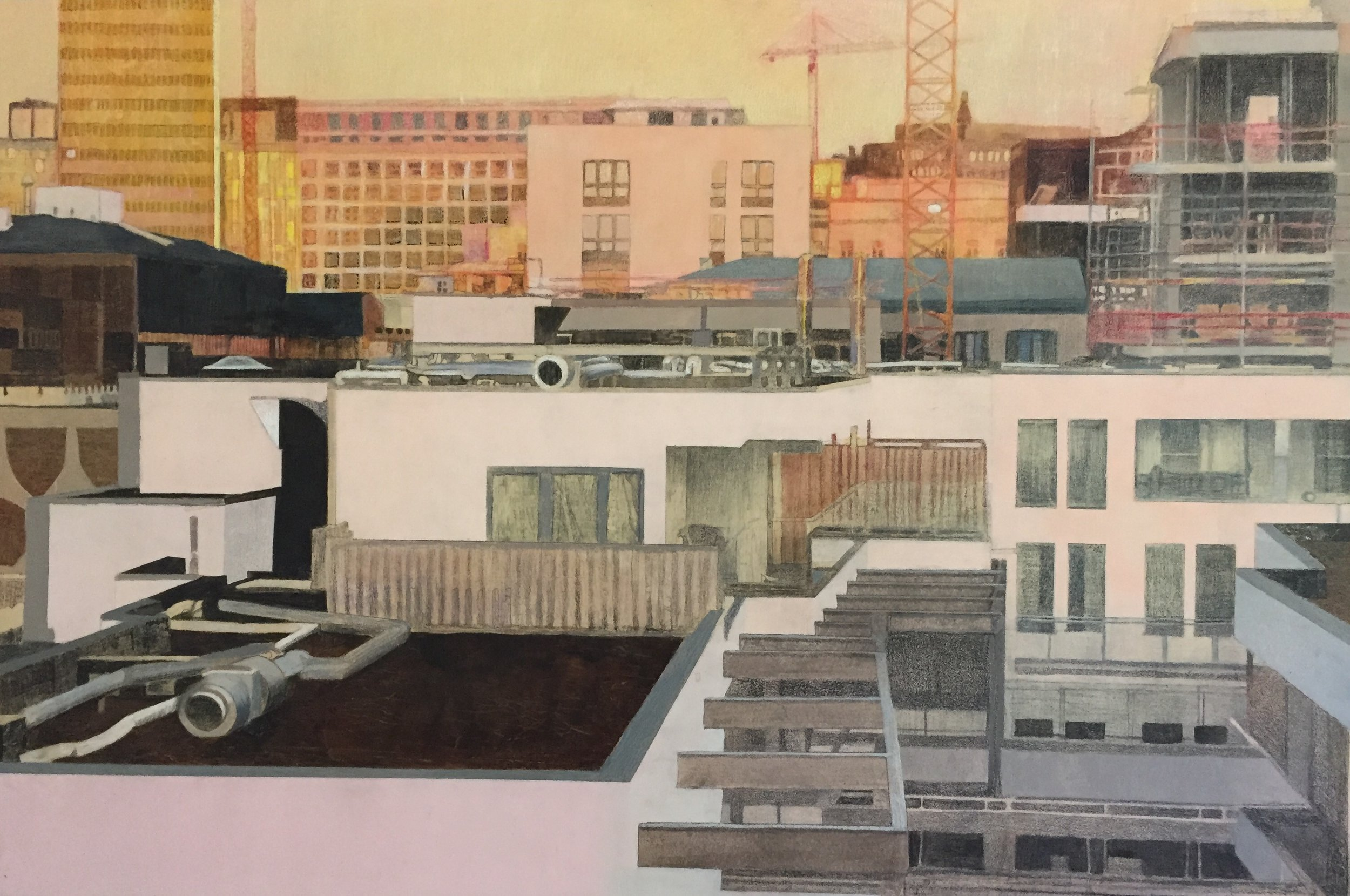 """Brussels Cityscape       36"""" x 24"""" Mixed Media on Wood Panel"""