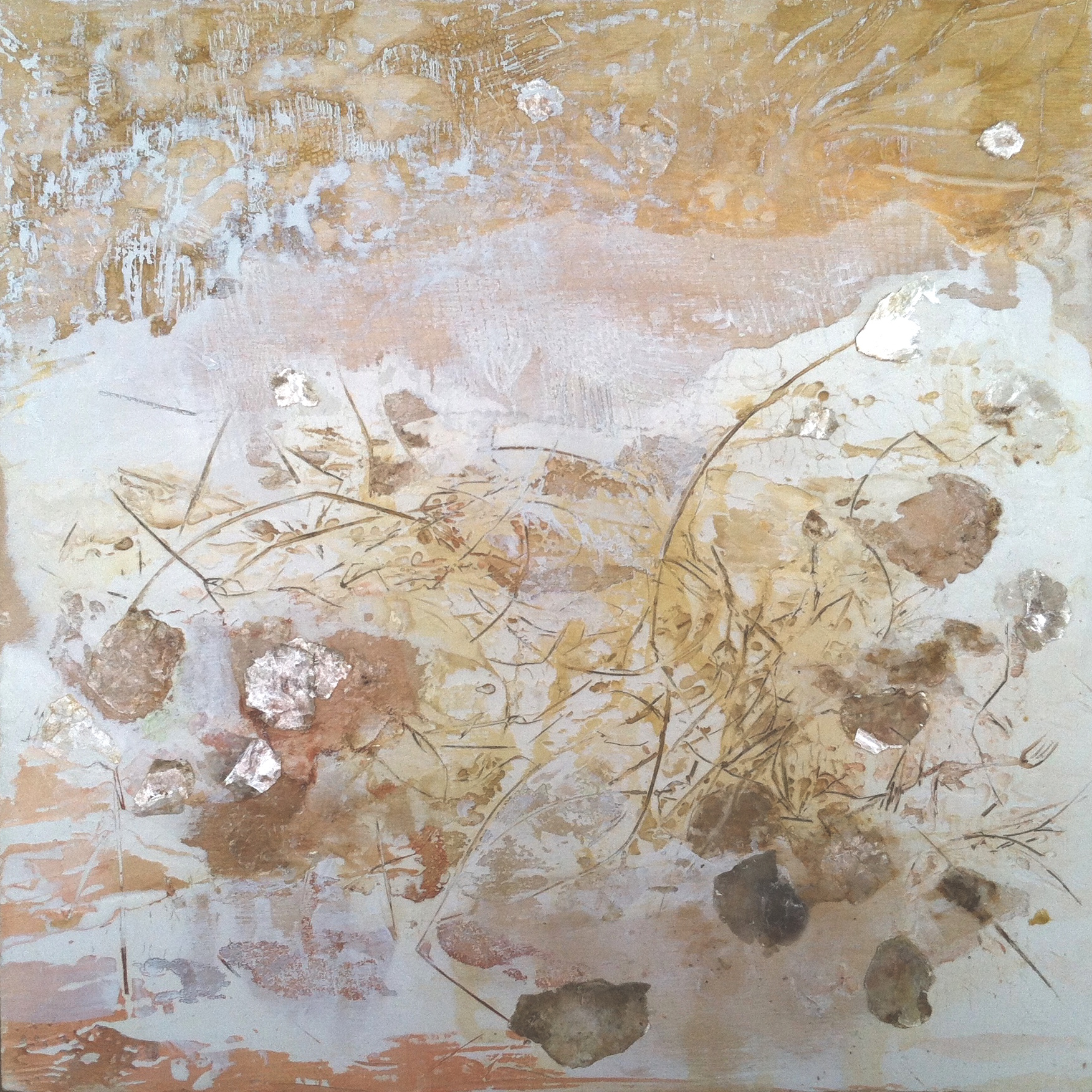 """Dunes in Winter   12""""sq. Mixed Media on Wood Panel"""
