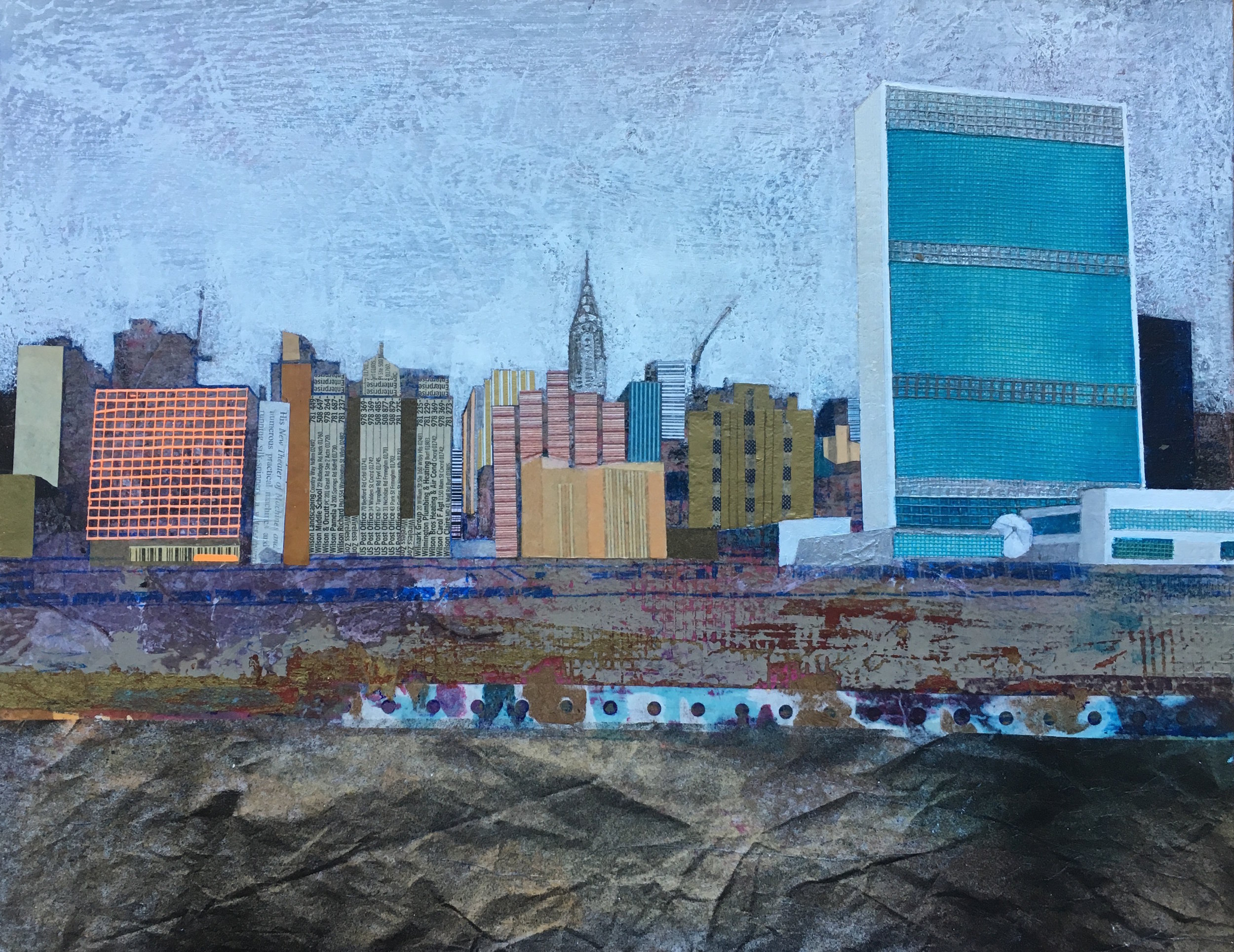 """East River        11""""x 14"""" Mixed Media on Wood Panel."""