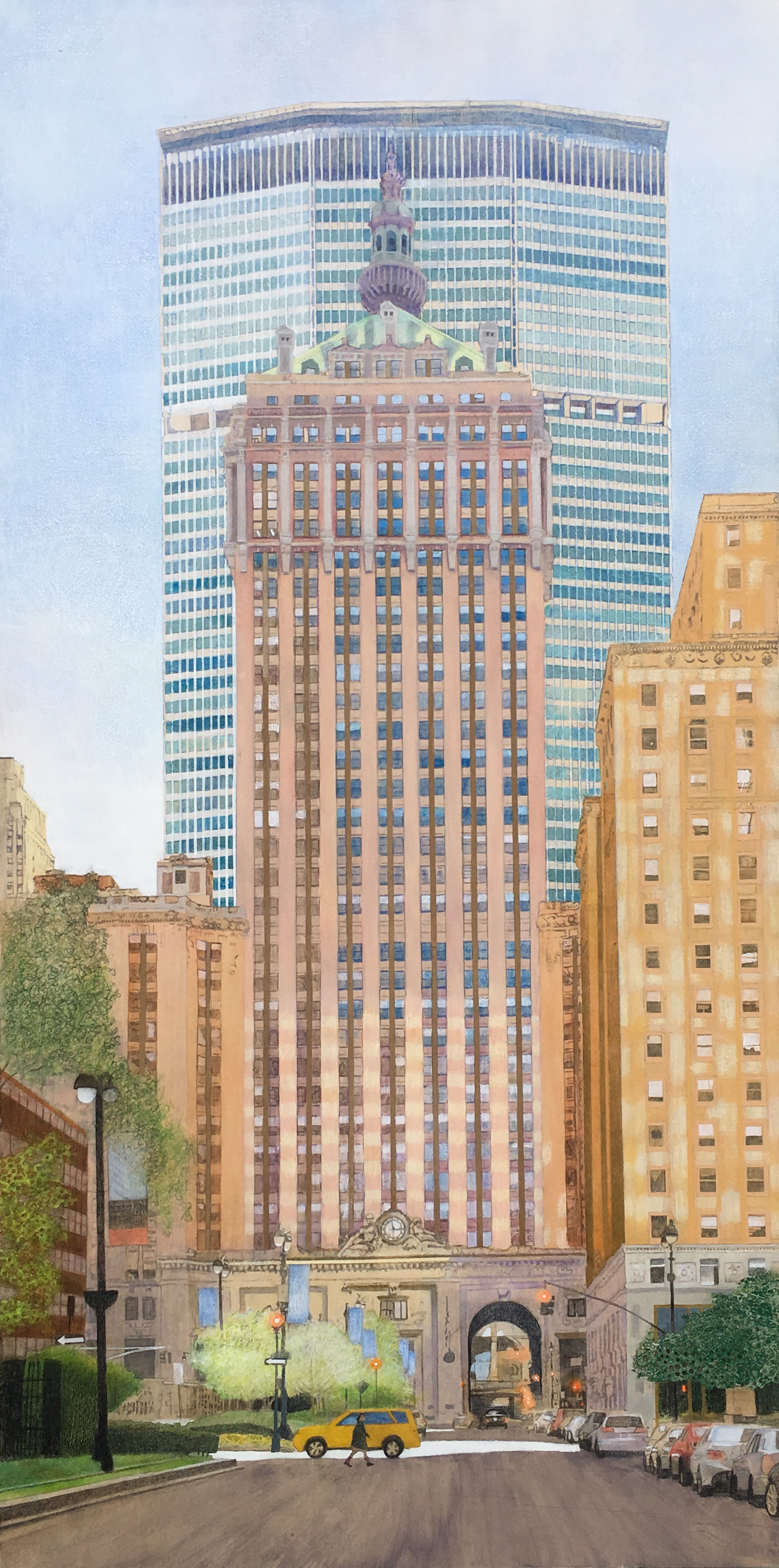 """Crossing Park Avenue     30""""x 60"""" Mixed Media on Wood Panel"""