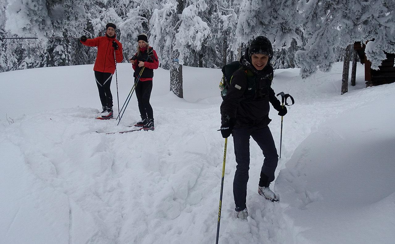 De to i bakgrunnen er fra Troms og var i området for første gang. Da de holdt på å gå rett forbi løypa bort til Kongens utsikt stoppet jeg dem. De lot seg overtale til å ta en tur hit. Johannes til høyre har her nettopp gitt dem et fotooppdrag. Foto: Bjørnar Eidsmo.