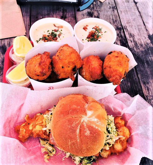 Fried Dogfish Sandwich, Clam Cakes, and Clam Chowder from Dune Brothers in Providence, Rhode Island (photo by A.Davis)