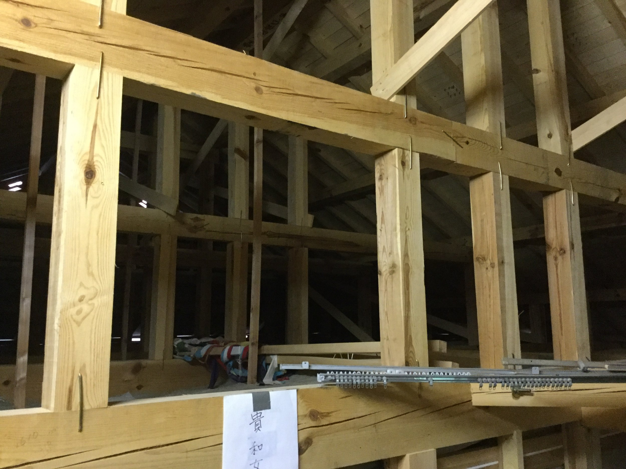 Our attic - check the cool 'staples' providing lateral stability for the roof structure
