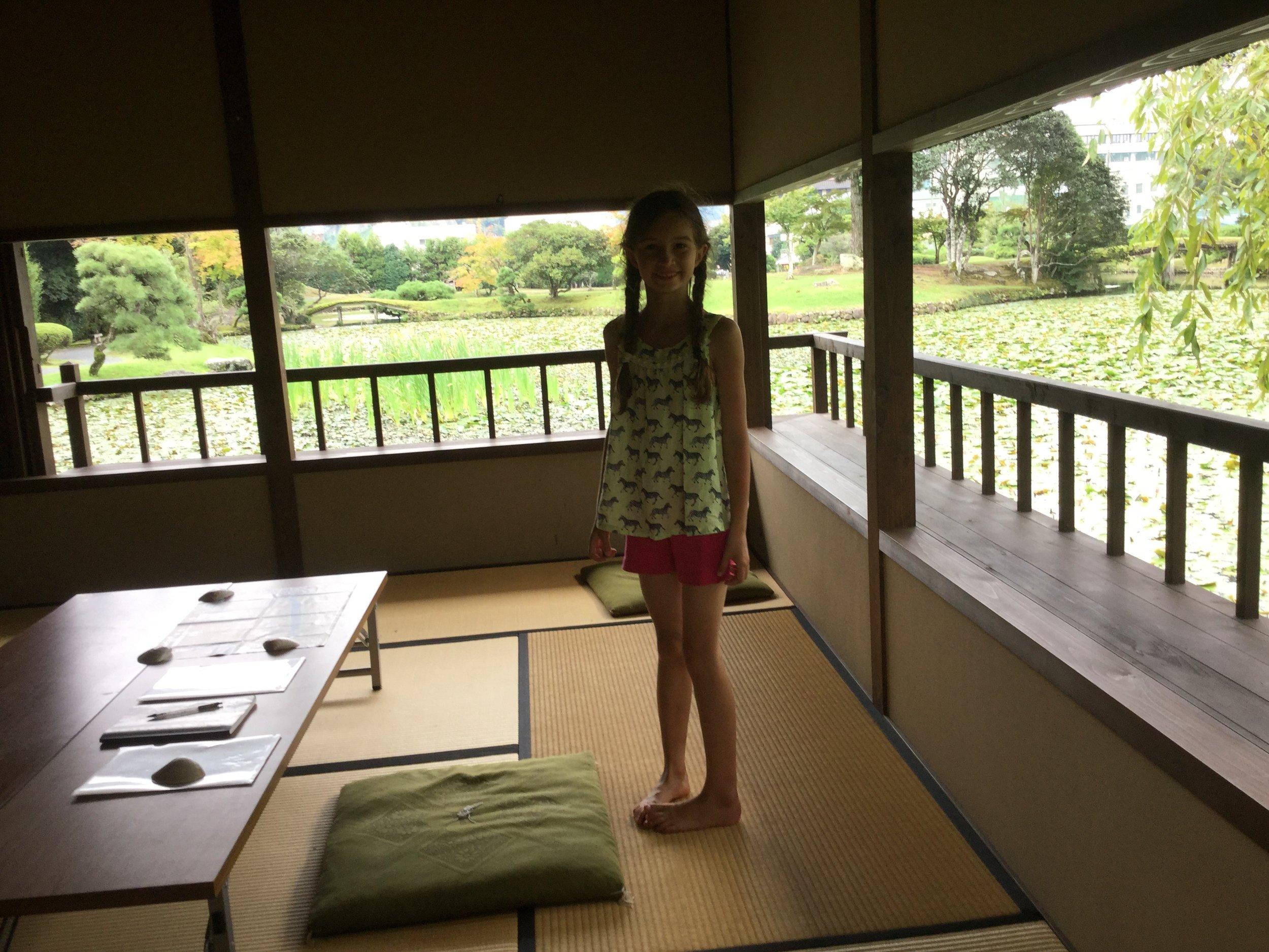 Lili inside the tea pavilion