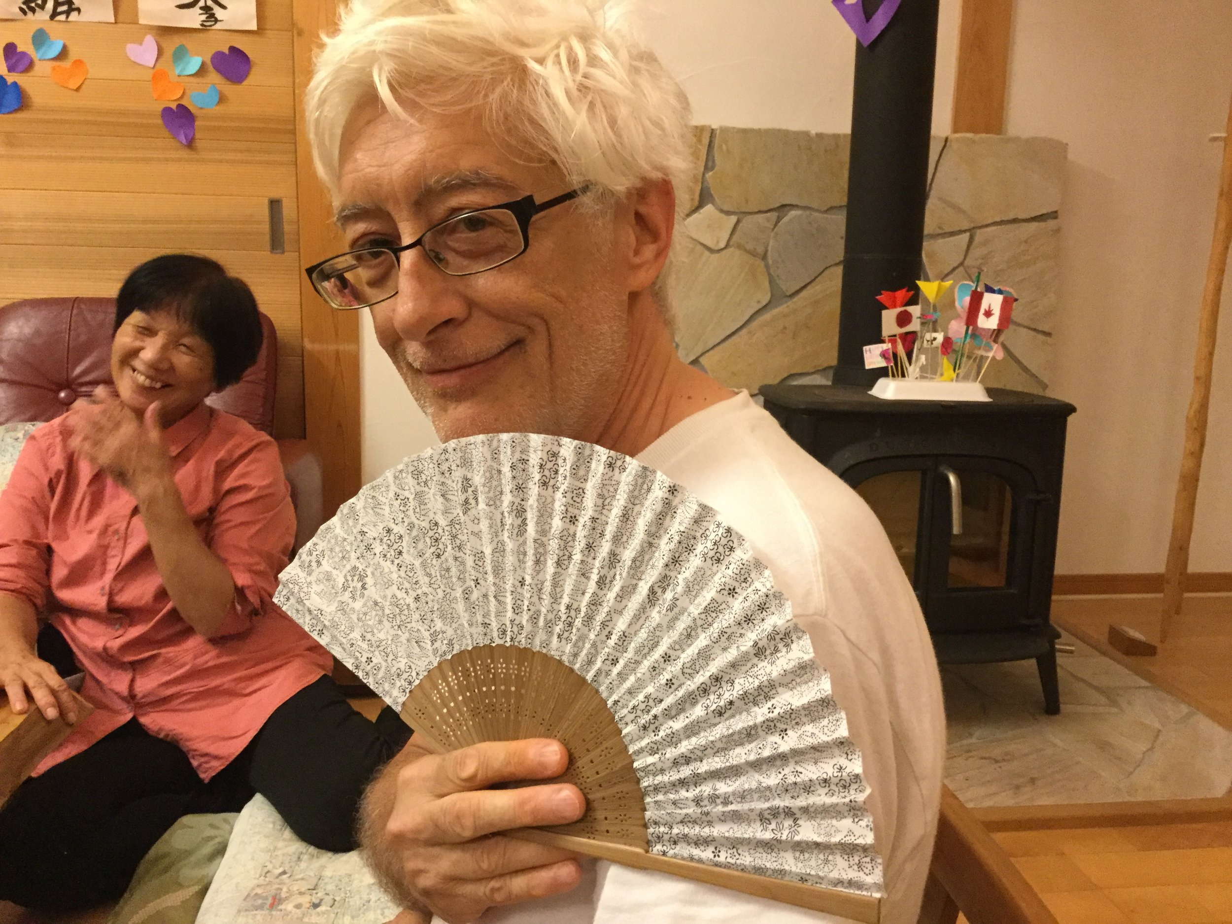 A beautiful fan for all the hot countries we will visit from Naoki and Yoshiko. What a thoughtful gift.