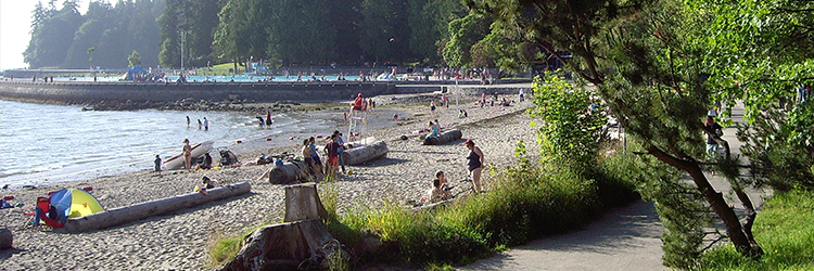 This beach is in Stanley Park.