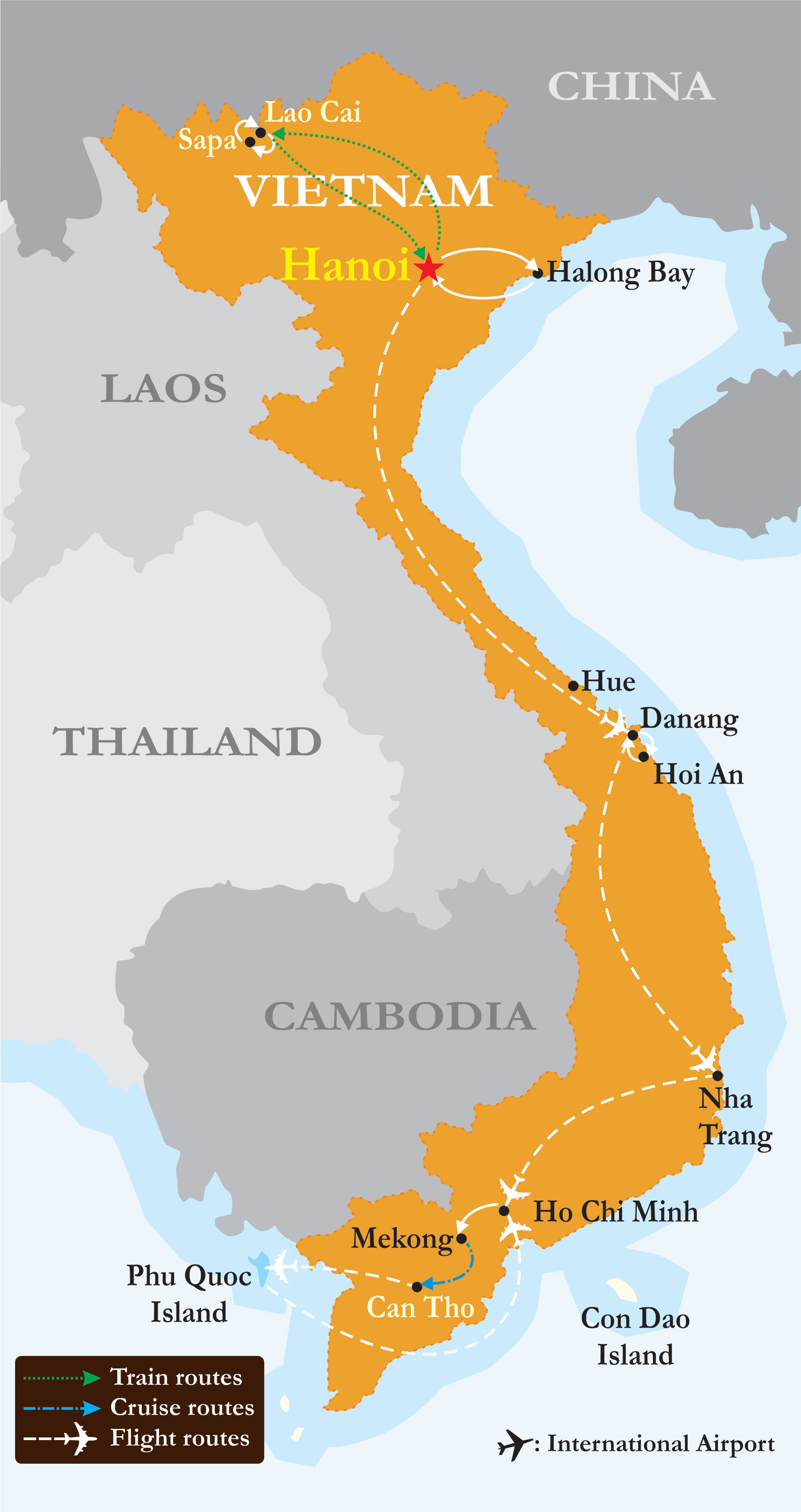 A map of popular tourist destinations in Vietnam. We flew to Hanoi, then went to Cat Ba Island for Ha Long Bay. From Hanoi we took the train to Lao Cai and then bus to Sapa. For our last five days in Vietnam we are flying to Danang tomorrow. We will not be visiting south Vietnam on this trip.