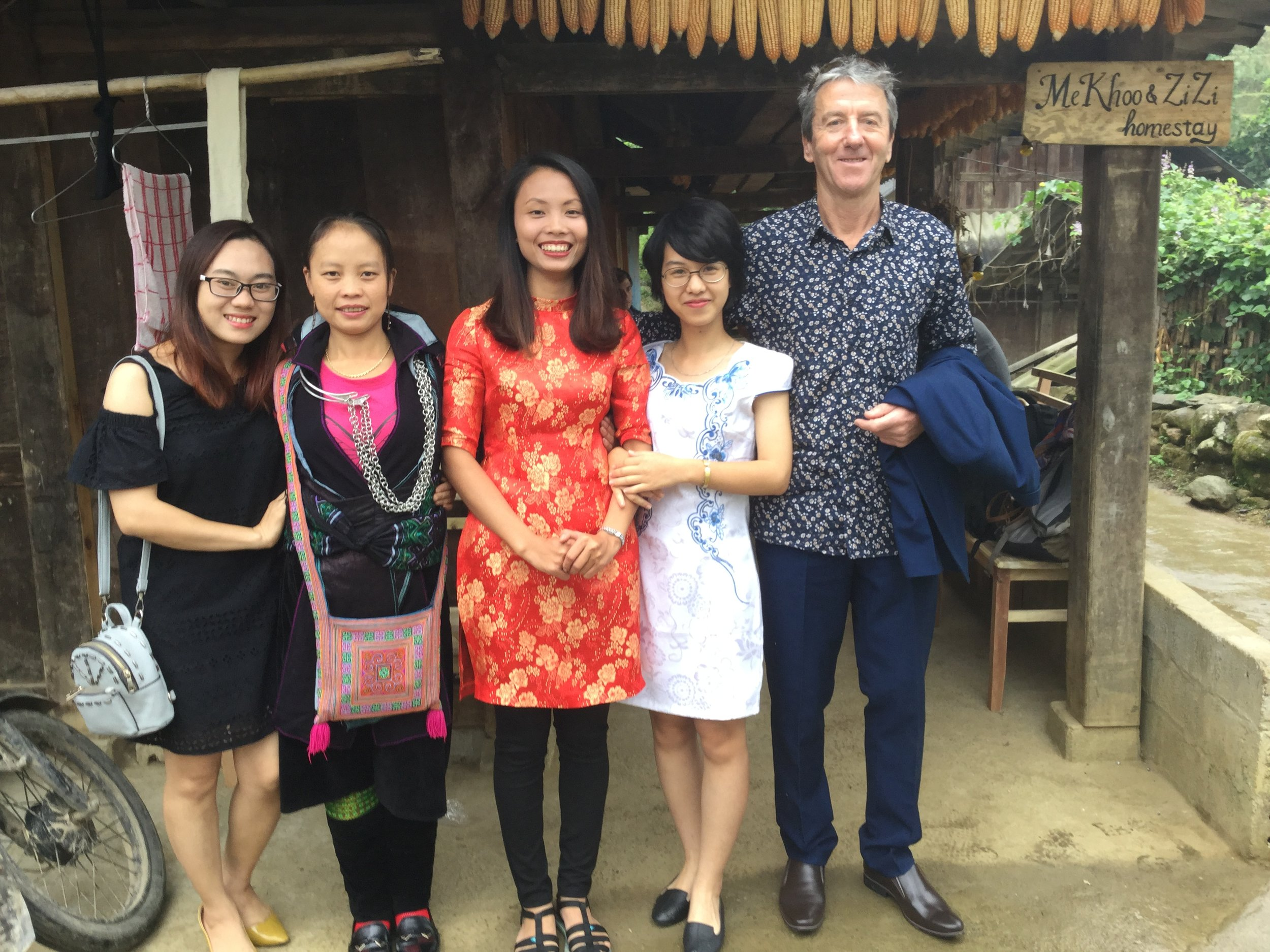 Maria in the red dress - this was the proud homestead representation to the Lao Cai wedding (Sue, Zizi, Maria, Tracy, and Tony from NZ).