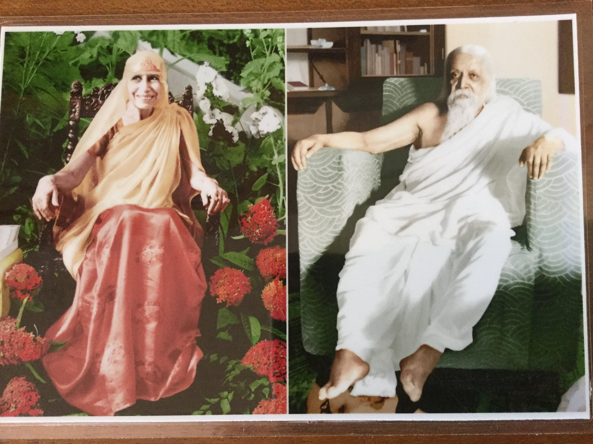 The Mother and Sri Aurobindo at the ashram.
