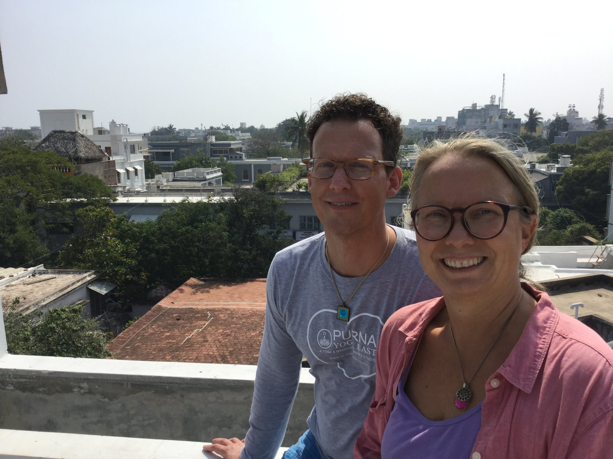 In Pondy - on our friends rooftop - you can see the Ashram in the background.