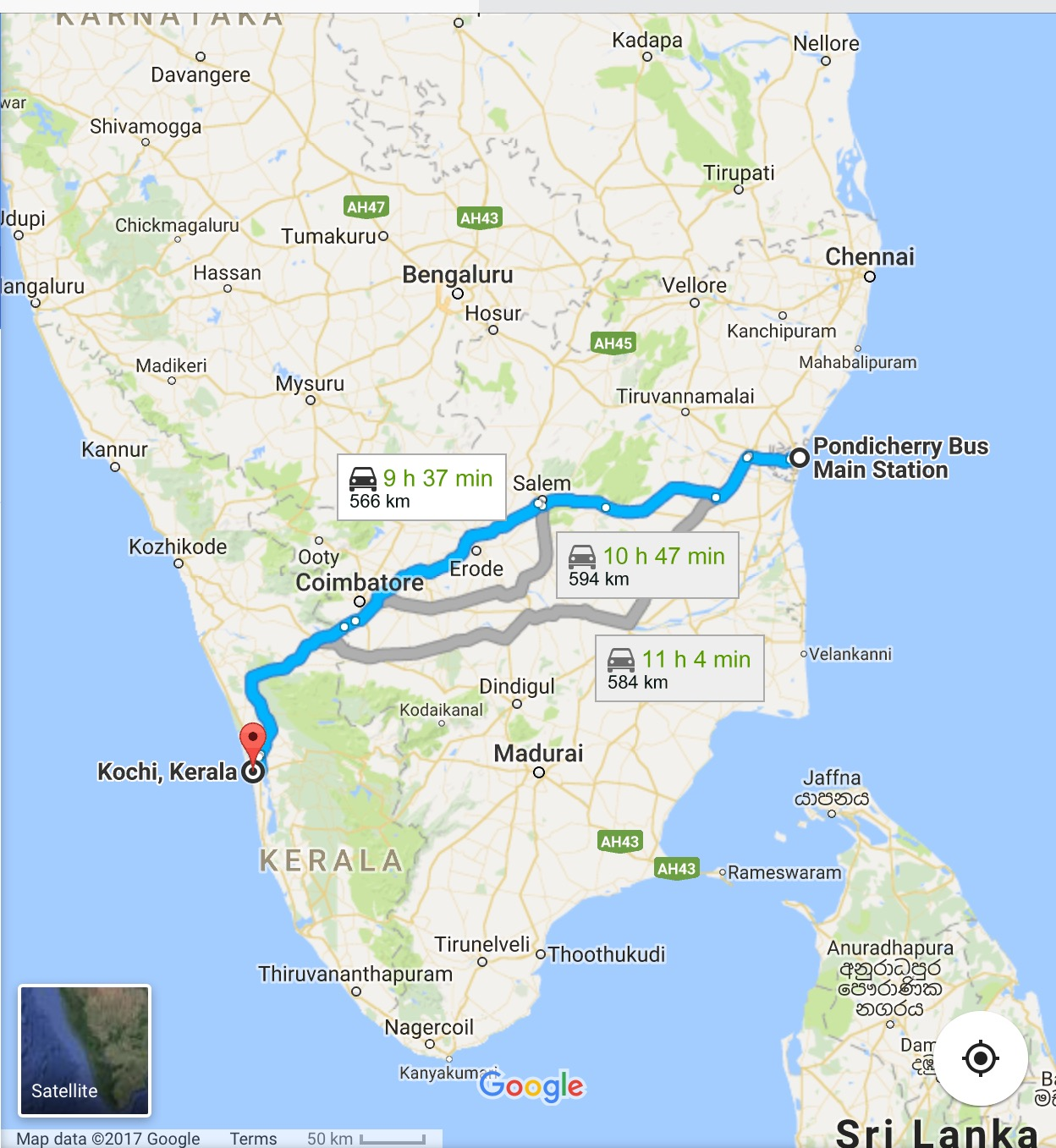 Here is where we travelled by bus. It's a long way!