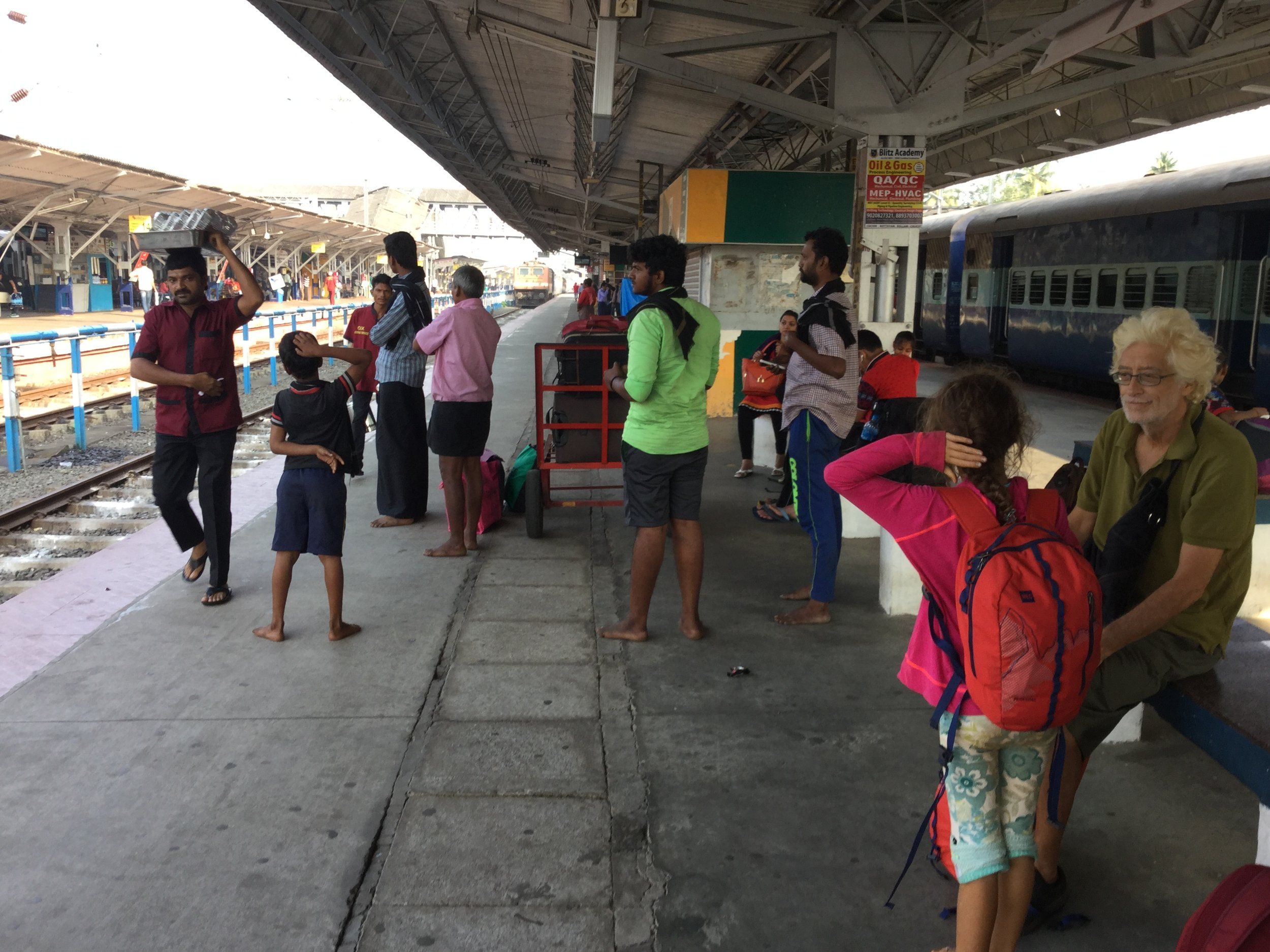 Here we are at the Kochi railway station (which is actually called Ernakulam Junction) waiting to take a local train to Alleppey (also called Alapphuza). The ride is about 80 minutes and cost all of 145 rupees ($ 2.90 CDN) for all three of us.